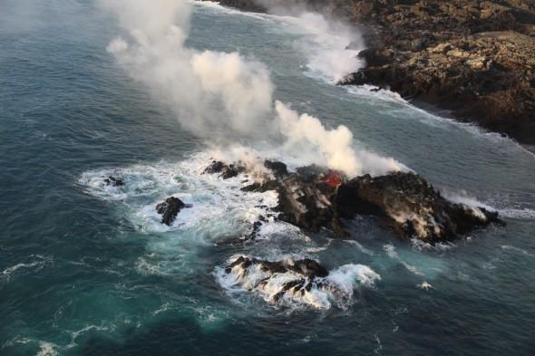 Lava bomb hurtles through roof of boat, injuring tourists in Hawaii