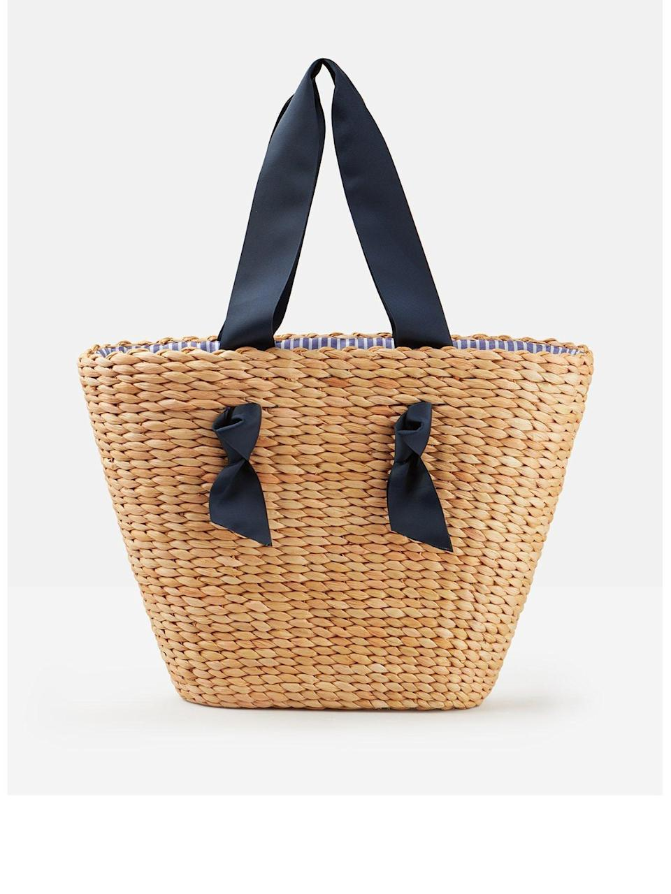 """As well as my purse and phone, a good bag needs to be able to fit crisps, dip and Whispering Angel (all the important stuff). This woven shopper is summery and practical in equal measure.<br><br><strong>Joules</strong> Albury Woven Straw Shopper Bag, $, available at <a href=""""https://www.very.co.uk/joules-albury-woven-straw-shopper-bag-natural/1600404019.prd"""" rel=""""nofollow noopener"""" target=""""_blank"""" data-ylk=""""slk:Very"""" class=""""link rapid-noclick-resp"""">Very</a>"""