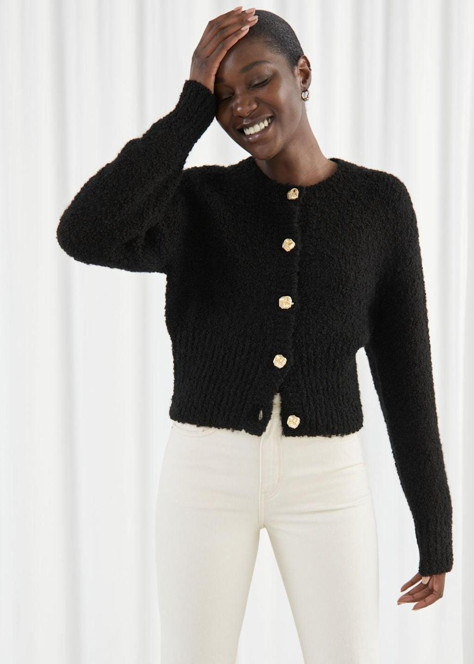 <p>The details on this <span>Bouclé Knit Cropped Cardigan</span> ($99) add extreme sophistication.</p>
