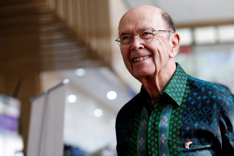 U.S. Commerce Secretary Wilbur Ross reacts as he arrives before his meeting with Indonesia's Chief Economic Minister Airlangga Hartarto in Jakarta