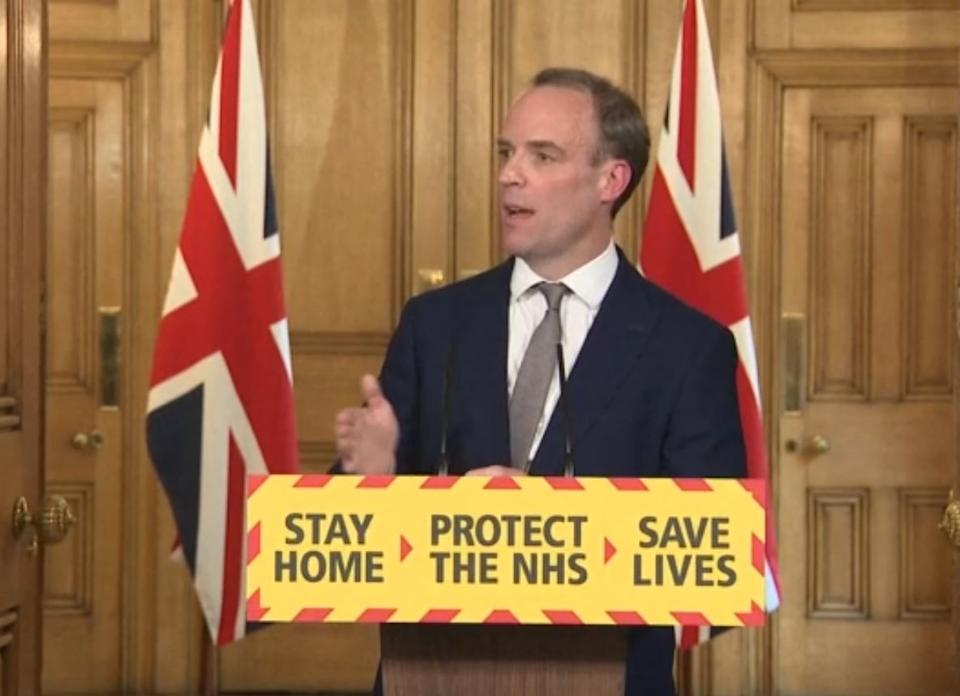 Screen grab of Foreign Secretary Dominic Raab during a media briefing in Downing Street, London, on coronavirus (COVID-19). (Photo by PA Video/PA Images via Getty Images)
