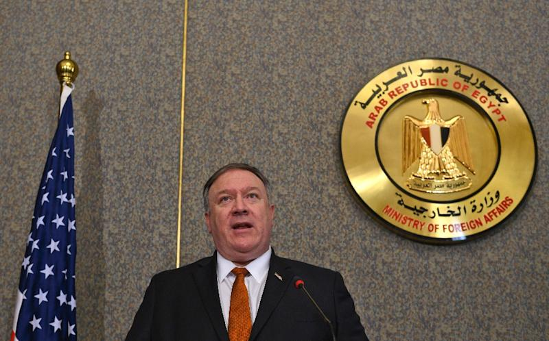 US Secretary of State Mike Pompeo holds a joint press conference with his Egyptian counterpart following their meeting at the ministry of foreign affairs in Cairo (AFP Photo/ANDREW CABALLERO-REYNOLDS)