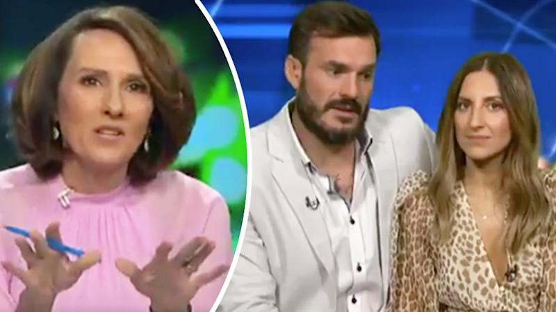 Bachelor Locky Gilbert receiving a brutal on-air grilling from The Project host Chris Bath