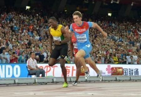 Aug 28, 2015; Beijing, China; Sergey Shubenkov (RUS) defeats Hansle Parchment (JAM) to win the 110m hurdles in a national record 12.98 to 13.03 during the IAAF World Championships in Athletics at National Stadium. Kirby Lee-USA TODAY Sports