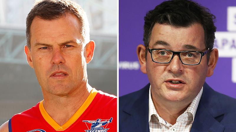 A 50-50 split image shows Luke Darcy on the left and Daniel Andrews on the right.