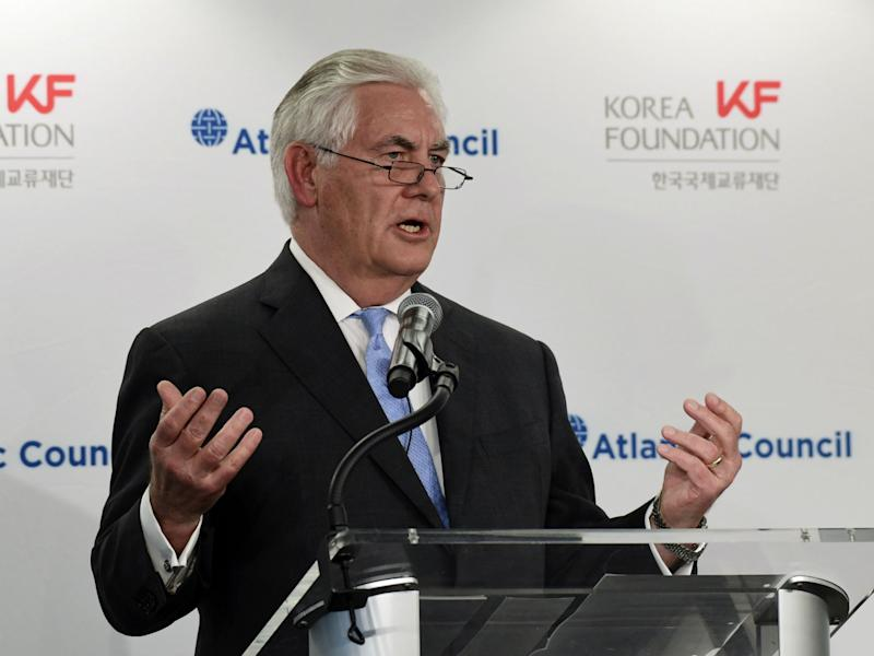 Rex Tillerson speaks at the 2017 Atlantic Council-Korea Foundation Forum in Washington, where he floated the idea of talks with North Korea: AP