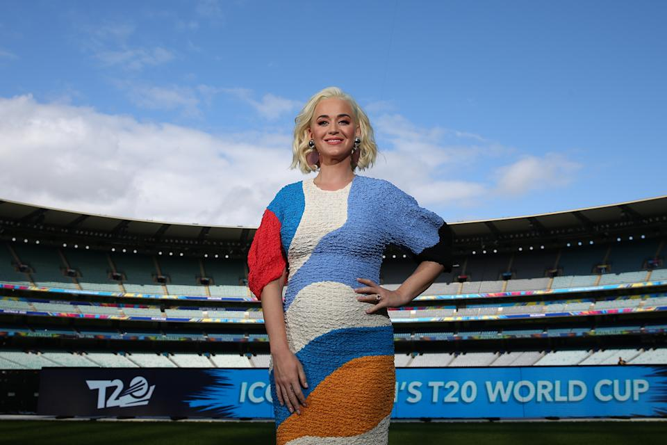 "Ahead of the singer's performance at the ICC Women's T20 Cricket World Cup Final, she wore a multi-coloured midi by Mara Hoffman. The dress known as ""The Freya"" is on a limited run on the designer's website for £836.99. The lenzing modal woven material is perfect for a growing bump. (Getty Images)"