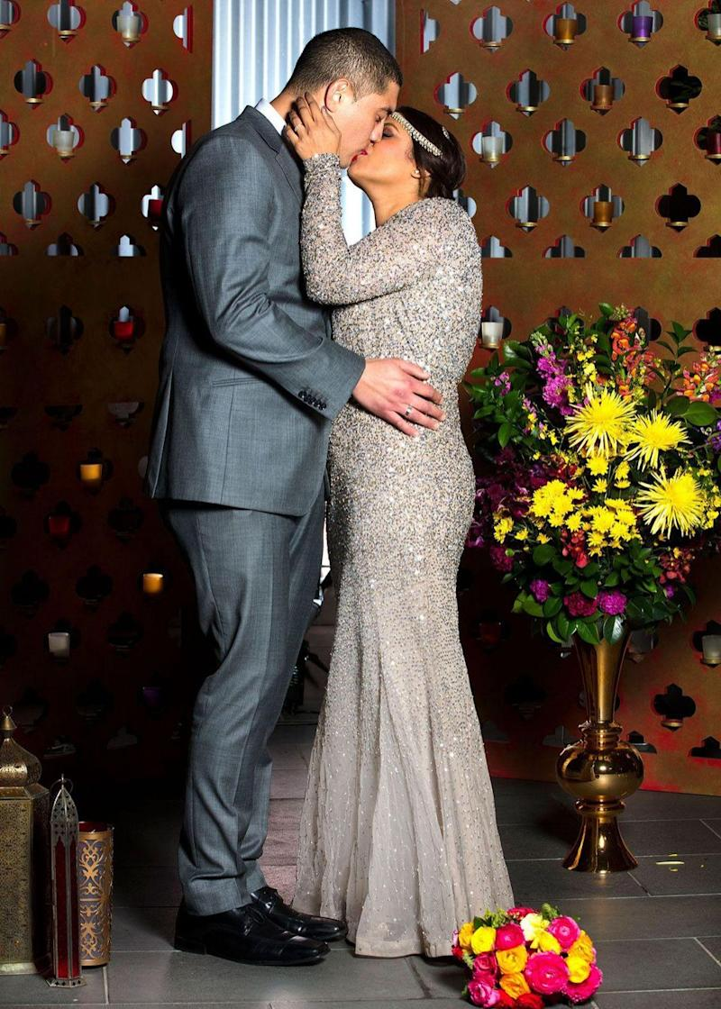 The pair couldn't get enough off each other clearly sharing a serious chemistry with one another while kissing during their official wedding photoshoot. Source: Nine
