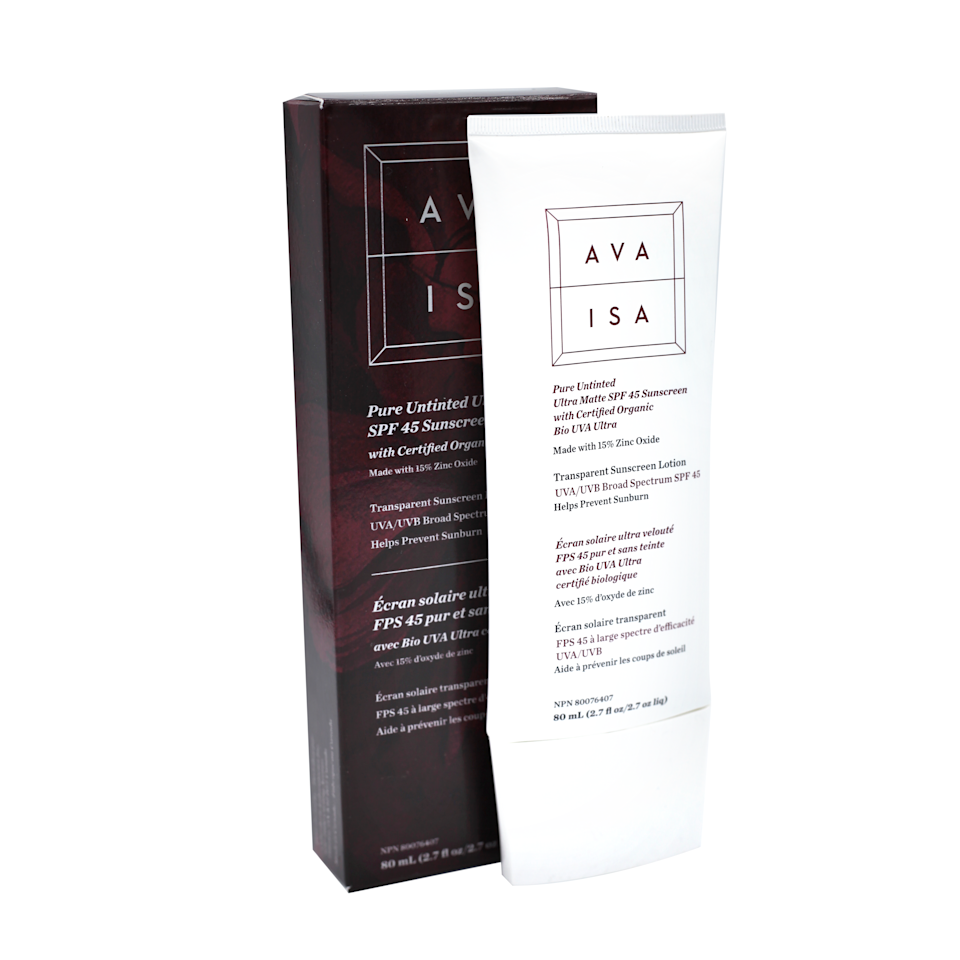 """<h3><strong>Ava Isa</strong> Pure Untinted Ultra Matte Sunscreen</h3><br>Found: the perfect sunscreen to wear underneath makeup. It's reef-safe, lightweight, offers a matte finish, and goes on dry-touch — so you don't have to worry about that greasy residue most face sunscreens are notorious for.<br><br><strong>Ava Isa</strong> Pure Untinted Ultra Matte SPF 45 Sunscreen, $, available at <a href=""""https://go.skimresources.com/?id=30283X879131&url=https%3A%2F%2Fcredobeauty.com%2Fproducts%2Fpure-untinted-ultra-matte-spf-45-sunscreen"""" rel=""""nofollow noopener"""" target=""""_blank"""" data-ylk=""""slk:Credo"""" class=""""link rapid-noclick-resp"""">Credo</a>"""
