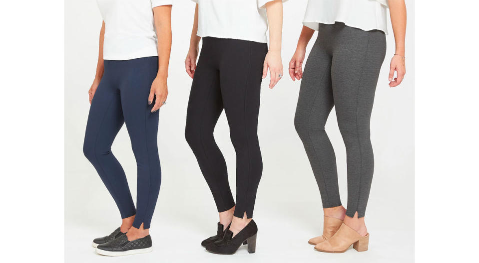 Spanx Ankle Length Ponte Hem Slit Leggings (Photo: QVC)