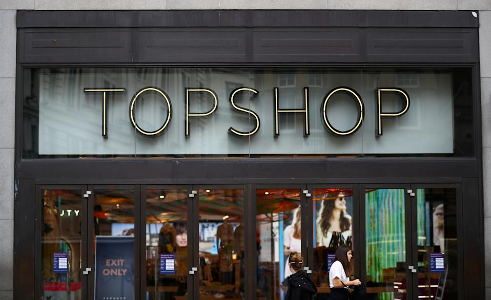 An entrance to the Topshop store is pictured at the Oxford Street, in London