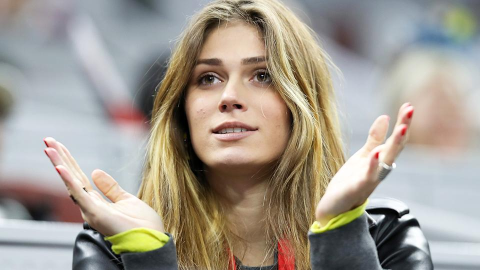 Olga Sharypova, pictured here watching Alexander Zverev at the China Open in 2019.