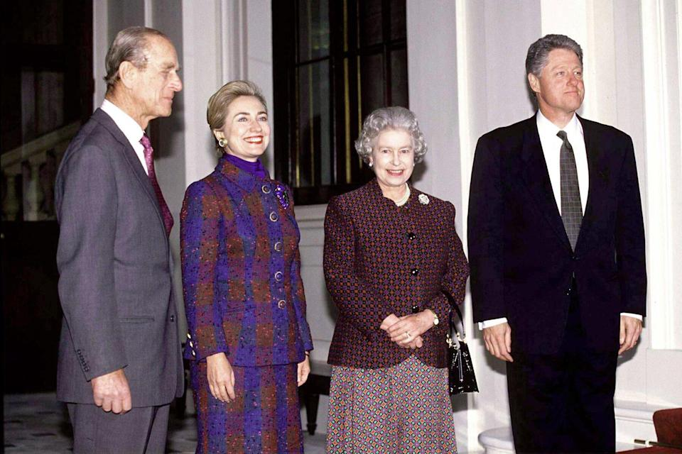 he Queen And Prince Philip With President Bill Clinton And His Wife Hillary At Buckingham Palace in 1995