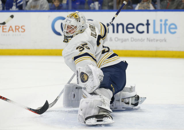 Buffalo Sabres goalie Linus Ullmark (35) makes a glove save during the first period of an NHL hockey game Friday against the Toronto Maple Leafs, Nov. 29, 2019, in Buffalo, N.Y. (AP Photo/Jeffrey T. Barnes)