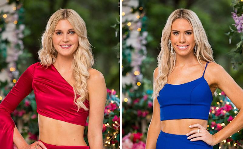 Bachelor contestants Steph (left) in red midriff velvet top and skirt, and Charley (right) in royal blue top