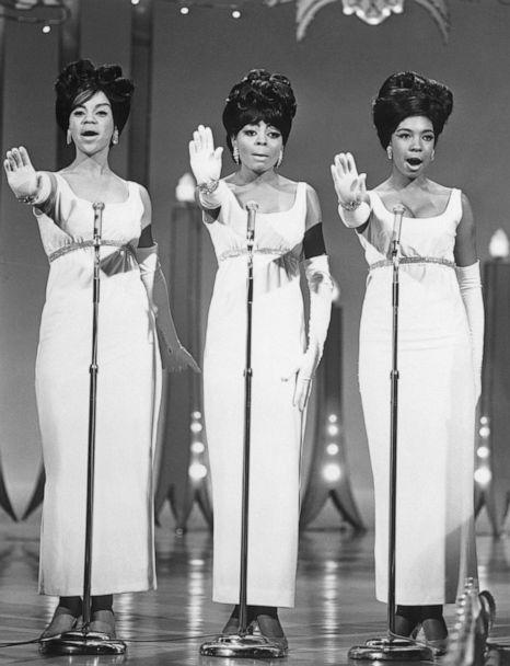PHOTO: The Supremes singing in concert, from left to right, Florence Ballard, Diana Ross, and Mary Wilson, circa 1965. (Bettmann Archive via Getty Images )