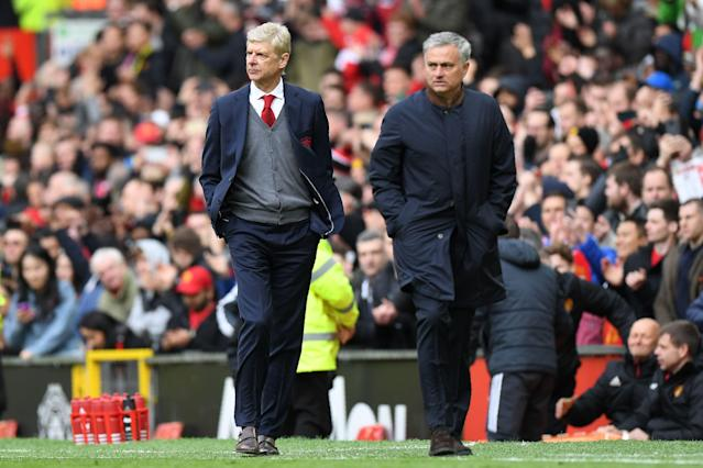 Arsene Wenger had a special pregame moment with Jose Mourinho and Sir Alex Ferguson, but the game between Manchester United and Arsenal was dull and disappointing. (Getty)