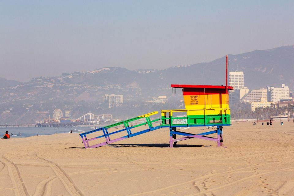 <p>A lifeguard tower at the popular tourist spot, Venice Beach in Los Angeles, California.</p>