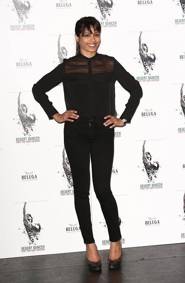 LONDON, ENGLAND - OCTOBER 09:  Freida Pinto attends a photocall for 'Desert Dancer' at Sadler's Wells Theatre on October 9, 2012 in London, England.  (Photo by Tim Whitby/Getty Images)