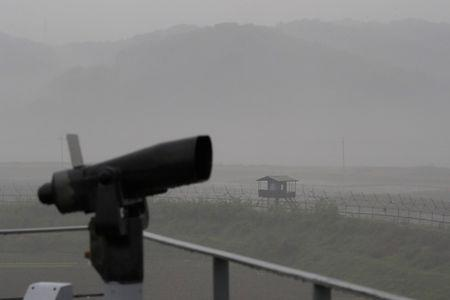 A guard post is seen near the demilitarized zone separating the two Koreas, in Paju, South Korea, May 16, 2018. REUTERS/Kim Hong-Ji/File Photo