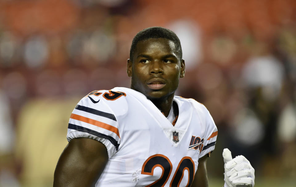 LANDOVER, MD - SEPTEMBER 23: Bears RB Tarik Cohen (29) runs off the field before during the Chicago Bears vs. Washington Redskins Monday Night Football game September 23, 2019 at FedEx Field in Landover, MD. (Photo by Randy Litzinger/Icon Sportswire via Getty Images)