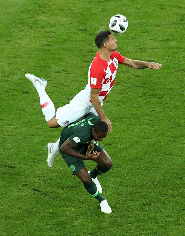 Soccer Football - World Cup - Group D - Croatia vs Nigeria - Kaliningrad Stadium, Kaliningrad, Russia - June 16, 2018 Croatia's Dejan Lovren in action with Nigeria's Odion Ighalo REUTERS/Lucy Nicholson TPX IMAGES OF THE DAY