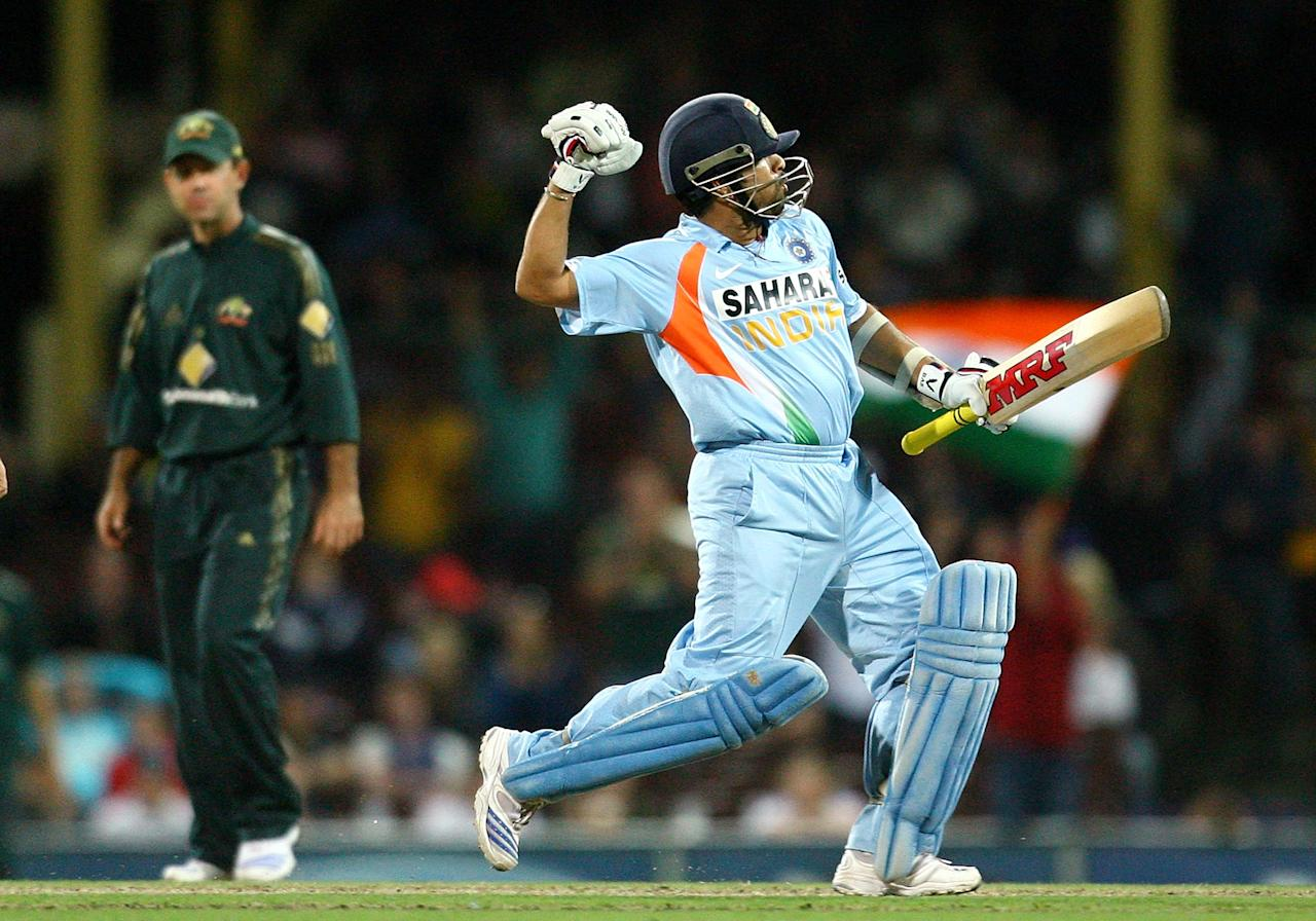 SYDNEY, AUSTRALIA - MARCH 02:  Sachin Tendulkar of India celebrates scoring a century during the Commonwealth Bank One Day International Series first final match between Australia and India at the Sydney Cricket Ground on March 2, 2008 in Sydney, Australia.  (Photo by Mark Nolan/Getty Images)