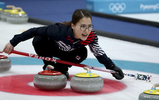 "<p>Internet-famous for her game face and owl-size glasses, the team's skip Kim Eun-jung goes by the nickname ""Annie,"" after a brand of yogurt. (Getty) </p>"