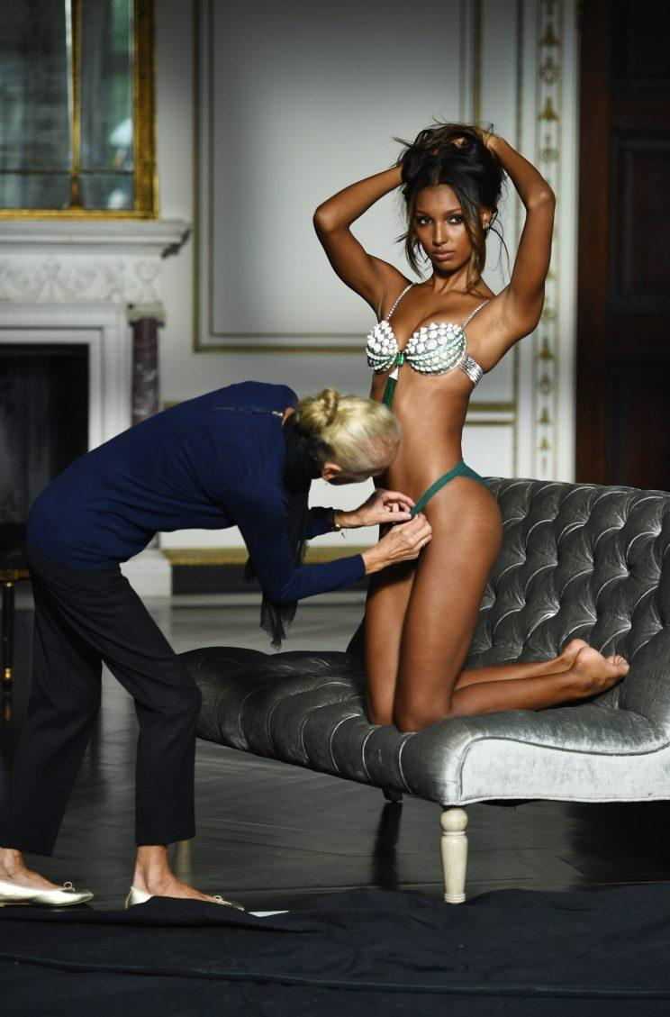 Jasmine Tookes getting fitted for the Victoria's Secret Fantasy Bra. (Photo: Getty Images)