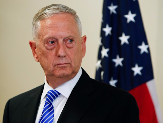 U.S. Defence Minister James N. Mattis is seen during a press conference before the commemoration of the 70th anniversary of the Marshall Plan at the George C. Marshall Center in Garmisch-Partenkirchen, Germany June 28, 2017. REUTERS/Michaela Rehle