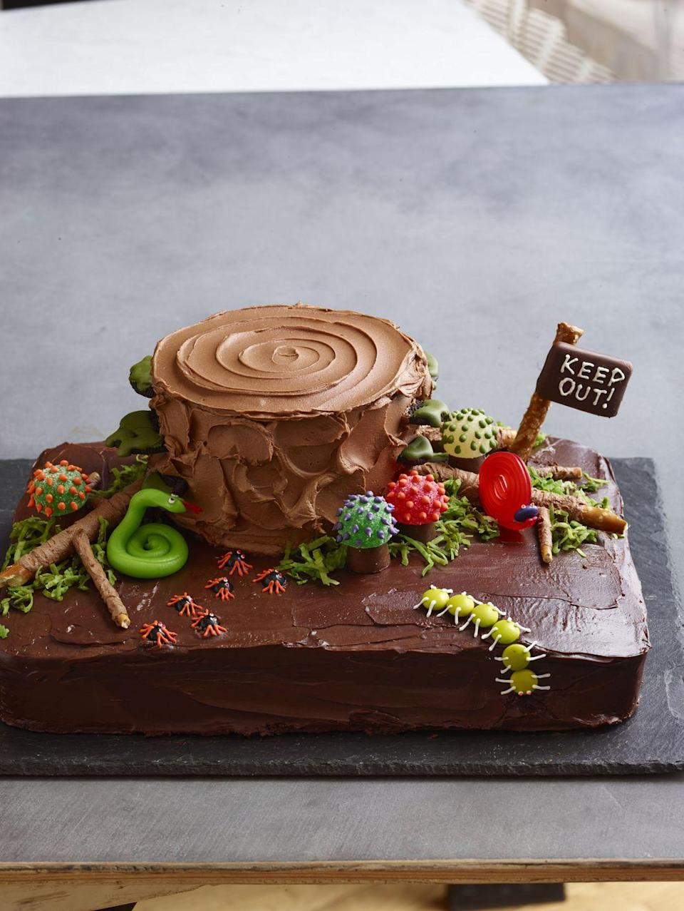 """<p>In an ideal world, all of the creepy crawly critters would actually be made of candy. That's what makes this chocolate cake a perfect Halloween treat.</p><p><em><a href=""""https://www.goodhousekeeping.com/food-recipes/a11583/chocolate-haunted-forest-cake-recipe-wdy1013/"""" rel=""""nofollow noopener"""" target=""""_blank"""" data-ylk=""""slk:Get the recipe for Chocolate Haunted Forest Cake »"""" class=""""link rapid-noclick-resp"""">Get the recipe for Chocolate Haunted Forest Cake »</a></em></p><p><strong>RELATED: </strong><a href=""""https://www.goodhousekeeping.com/food-recipes/dessert/g32305125/easy-chocolate-desserts/"""" rel=""""nofollow noopener"""" target=""""_blank"""" data-ylk=""""slk:25 Easy and Creative Chocolate Desserts That You Haven't Tried Yet"""" class=""""link rapid-noclick-resp"""">25 Easy and Creative Chocolate Desserts That You Haven't Tried Yet</a></p>"""