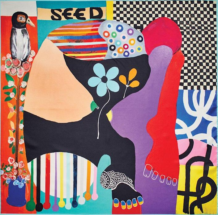 An abstract painting by Kojo Marfo copied onto a silk scarf