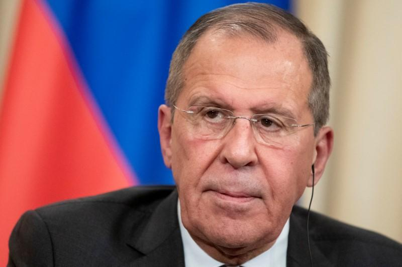 Russian Foreign Minister Sergei Lavrov attends a joint news conference following talks with Turkish Foreign Minister Mevlut Cavusoglu in Moscow