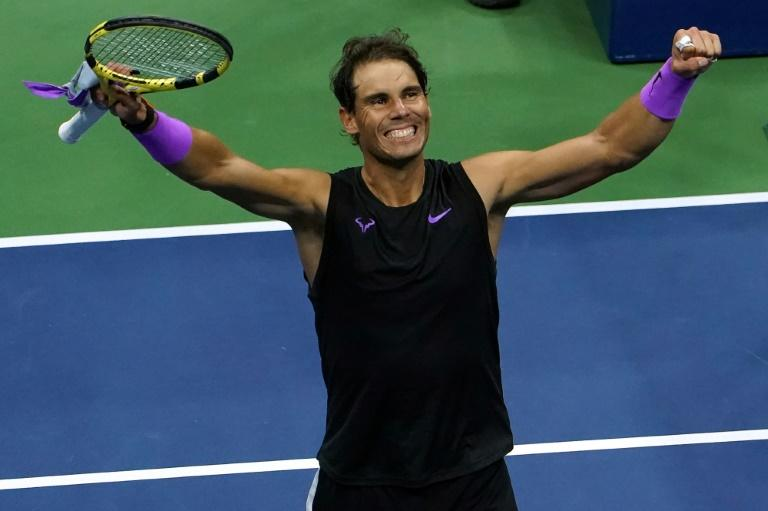 Spain's Rafael Nadal celebrates his victory over Italy's Matteo Berrettini on Friday to reach the final of the US Open