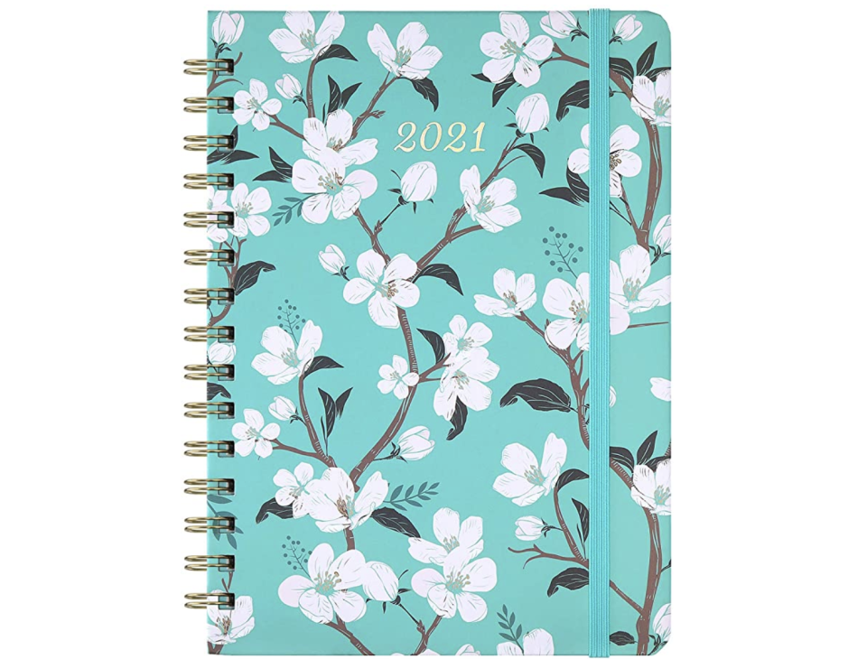 2021 Planner with Teal Flowers. (PHOTO: Amazon Singapore)
