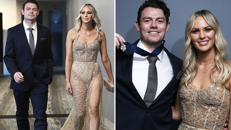 Lachie Neale and wife Julie at the Brownlow Medal night. Image: Getty