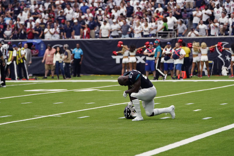 Jacksonville Jaguars running back Leonard Fournette (27) reacts after he was held short of the goal line on a two-point conversion attempt against the Houston Texans during the second half of an NFL football game Sunday, Sept. 15, 2019, in Houston. (AP Photo/David J. Phillip)