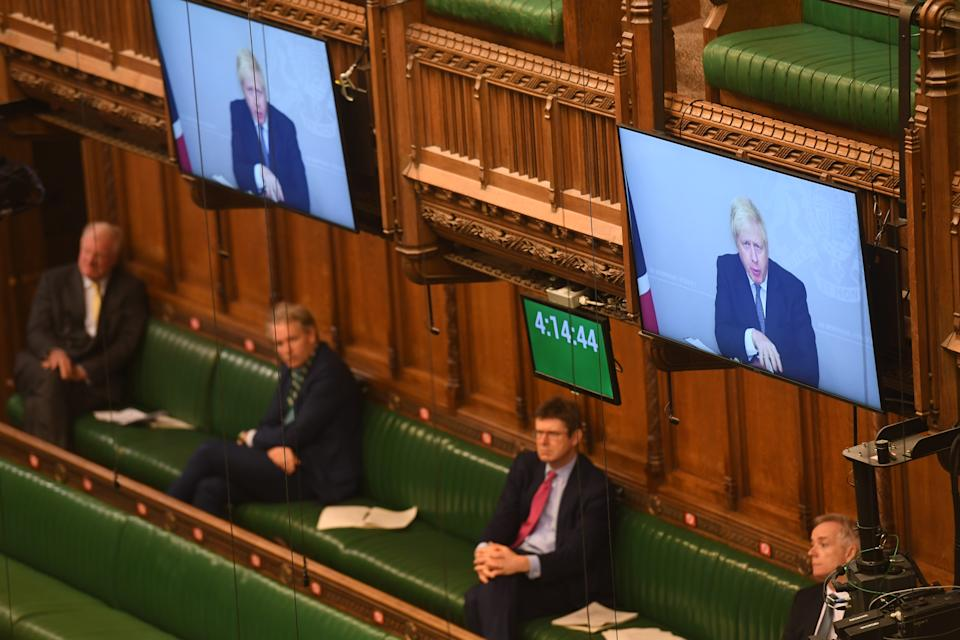Boris Johnson appearing via video-link in the House of Commons on Monday. (UK Parliament/Jessica Taylor via PA)