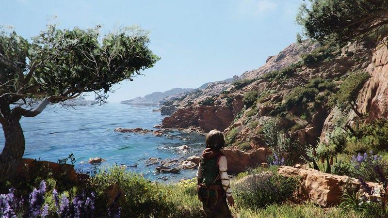 a child stares at the sea on a sunny day in a plague tale requiem