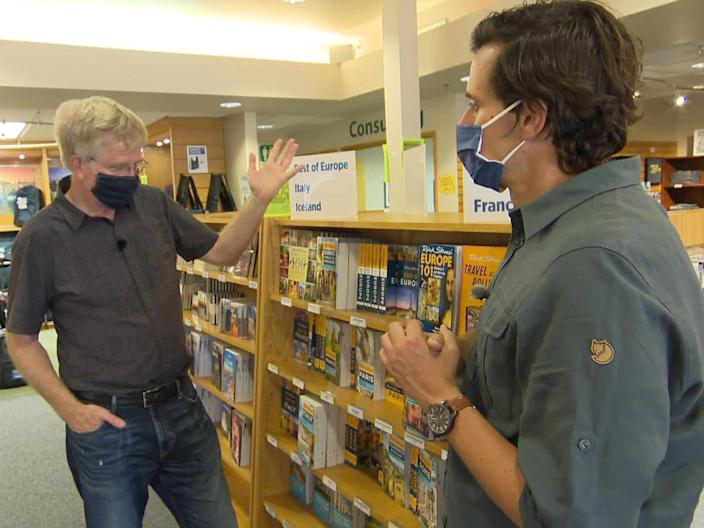 Rick Steves' travel guides aren't getting much use these days, he tells correspondent Conor Knighton.  / Credit: CBS News