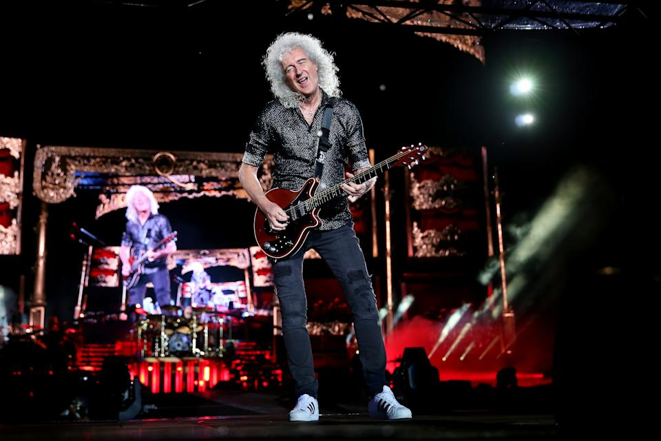 SYDNEY, AUSTRALIA - FEBRUARY 15: Brian May of Queen performs at ANZ Stadium on February 15, 2020 in Sydney, Australia. (Photo by Don Arnold/WireImage)