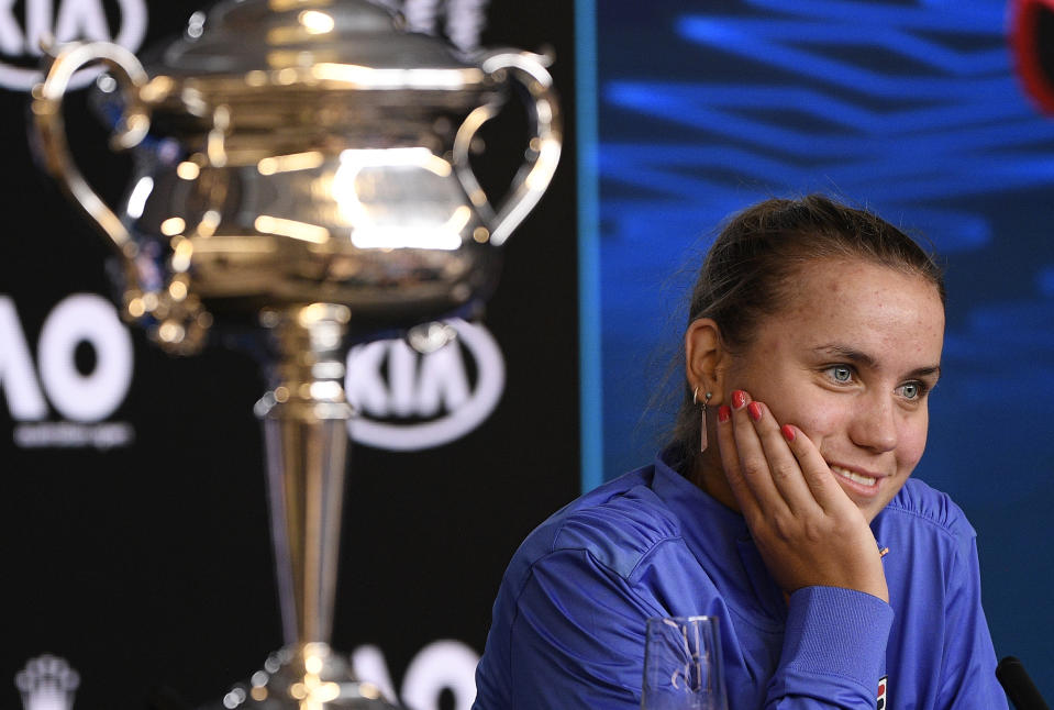 Sofia Kenin won her first Grand Slam at the Australian Open. (AP Photo/Andy Brownbill)
