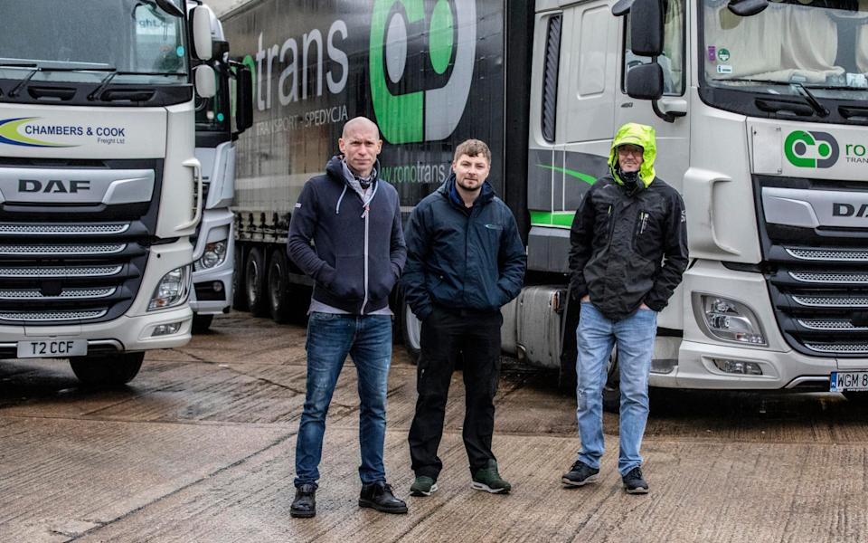 British truck drivers (right) Eric Johnson, (middle) Dean Hammond (31) , and (left) Dave King (48) stranded in Dover Port - Jeff Gilbert