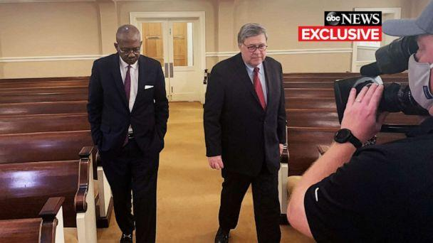PHOTO: ABC's Pierre Thomas interviews Attorney General William Barr, July 8, 2020. (Luke Barr/ABC News)