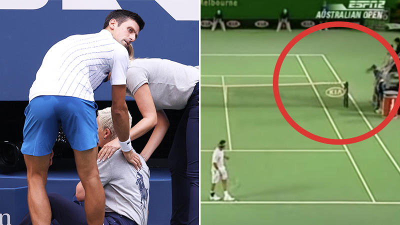 Roger Federer accidentally hitting a ball kid (pictured right) with a tennis ball at the Australian Open and Novak Djokovic checking on a line judge (pictured left) at the US Open.