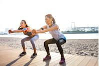 """<p>No time for a full workout? """"Do one minute of body-weight squats,"""" says <a href=""""https://whitecoattrainer.com/about"""" rel=""""nofollow noopener"""" target=""""_blank"""" data-ylk=""""slk:Alex Robles, M.D."""" class=""""link rapid-noclick-resp"""">Alex Robles, M.D.</a>, a physician and certified personal trainer and founder of <a href=""""https://whitecoattrainer.com/"""" rel=""""nofollow noopener"""" target=""""_blank"""" data-ylk=""""slk:The White Coat Trainer"""" class=""""link rapid-noclick-resp"""">The White Coat Trainer</a>. """"Squats strengthen your legs; improve hip, ankle, and spine mobility; and increase blood flow throughout your body."""" They also target your core. Make sure your heels are flat on the floor, your back is straight, and your hips are open so your knees are in line with your toes. """"If you're a beginner, work up to 25 squats in a minute,"""" says Dr. Robles. """"For more support as you stand up, place a chair in front of you with your hands on the back.""""</p>"""