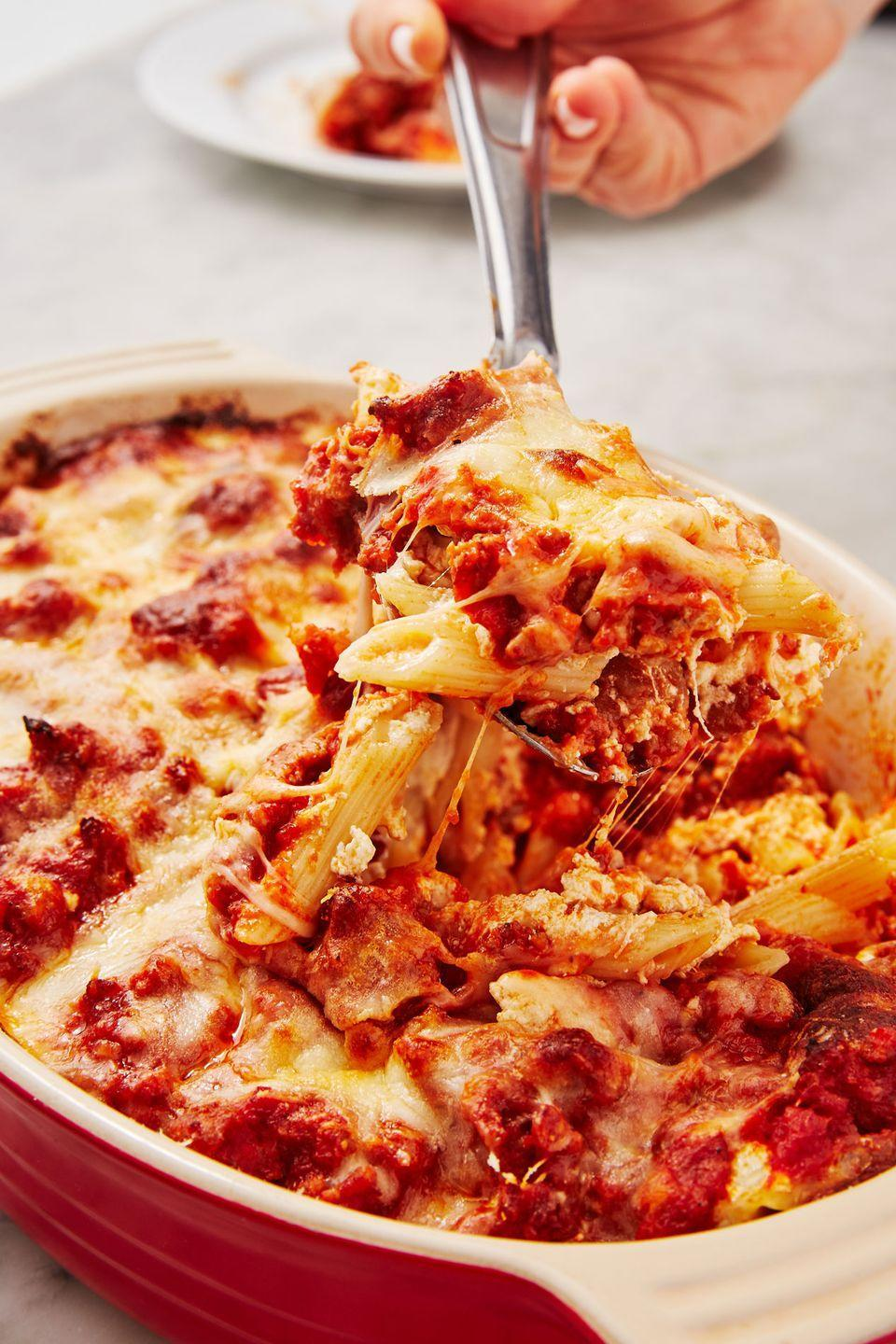 """<p>Essentially an easier lasagna made with penne.</p><p>Get the recipe from <a href=""""https://www.delish.com/cooking/recipe-ideas/a29777181/classic-mostaccioli-recipe/"""" rel=""""nofollow noopener"""" target=""""_blank"""" data-ylk=""""slk:Delish"""" class=""""link rapid-noclick-resp"""">Delish</a>.</p>"""