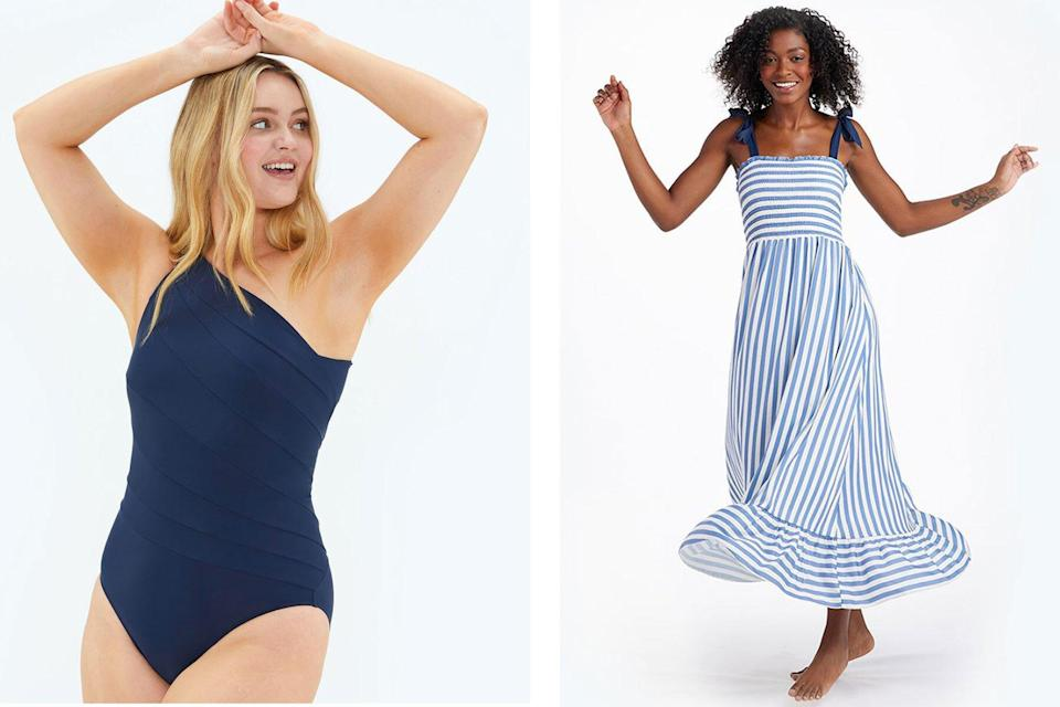 Woman wearing navy swimsuit and white and blue striped maxi dress