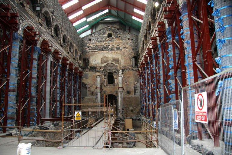 Scaffolding and working materials are seen inside St Mel's Cathedral in the town of Longford in Ireland