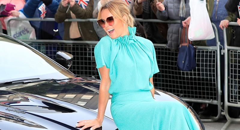 Amanda Holden wears aqua Edeline Lee Hera Ruff dress for the BGT auditions in Manchester today [Getty]